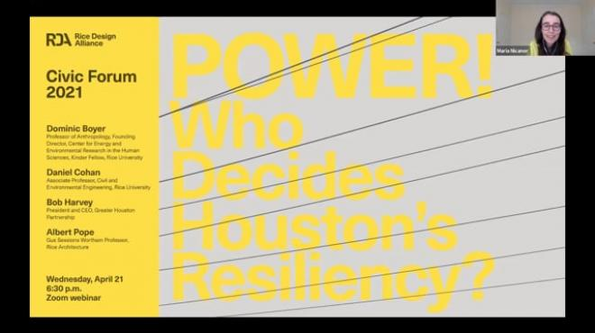 """RDA Civic Forum 2021: """"POWER: Who Decides Houston's Resiliency?"""""""