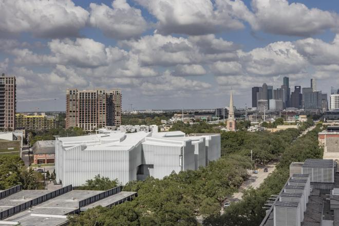 The Nancy and Rich Kinder Building at the Museum of Fine Arts, Houston, from above. © Richard Barnes, courtesy of the Museum of Fine Arts, Houston.