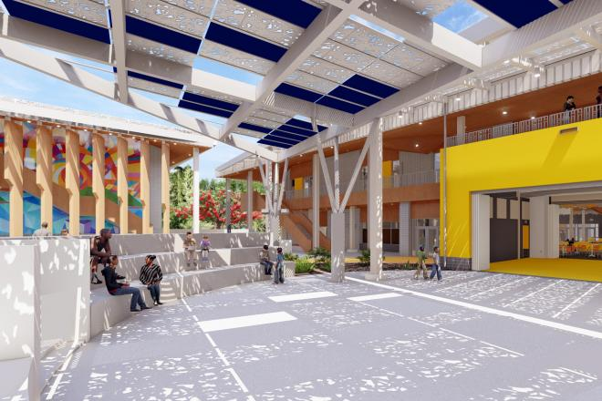The outdoor amphitheater supports community gatherings at Arthur A. Richards PreK-8 School year-round while the gym is designed as an emergency shelter during a hurricane. Image courtesy DLR Group.