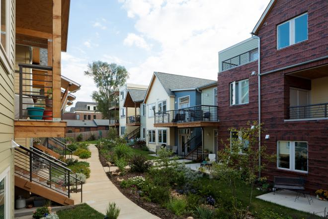 Interior courtyard at Germantown Cohousing in Nashville