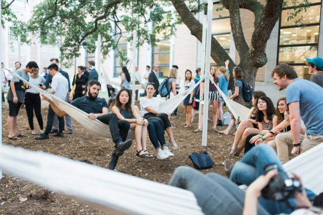 Hangout hammocks at Rice University.
