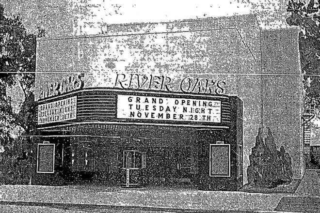 The River Oaks Theatre on its opening day as it appeared on the front page of the Houston Post on Tuesday, November 28, 1939.