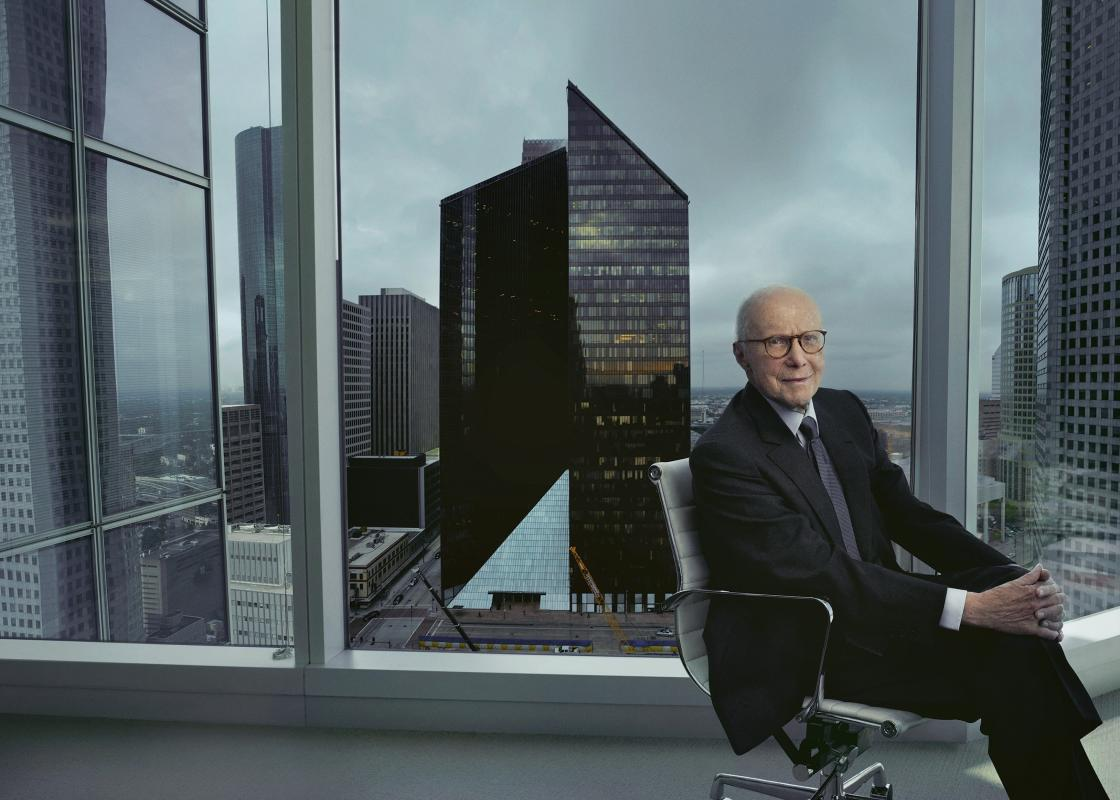 Gerald D. Hines with Pennzoil Place. Photo by Annie Leibovitz.