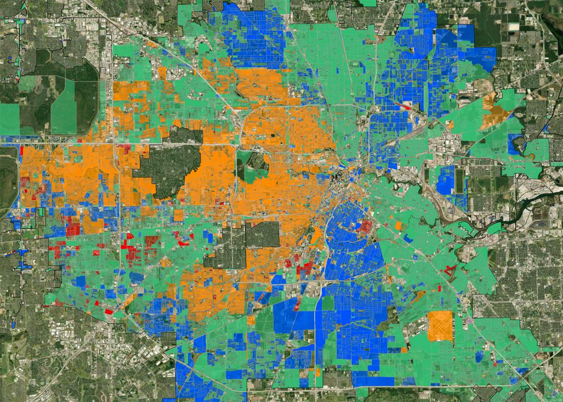 Race/Ethnicity by census tract in Houston as measured by the 2020 census. Via the COH Planning Department Census Map Viewer.