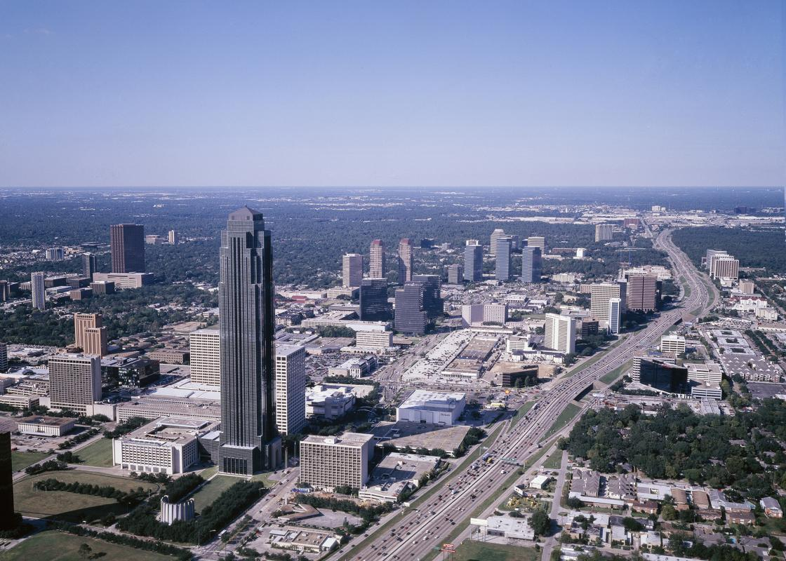 """Carol M. Highsmith, """"Transco Tower, Houston, Texas."""" Photograph. https://www.loc.gov/item/2011630562/. Via the Carol M. Highsmith Archive, Library of Congress, Prints and Photographs Division."""