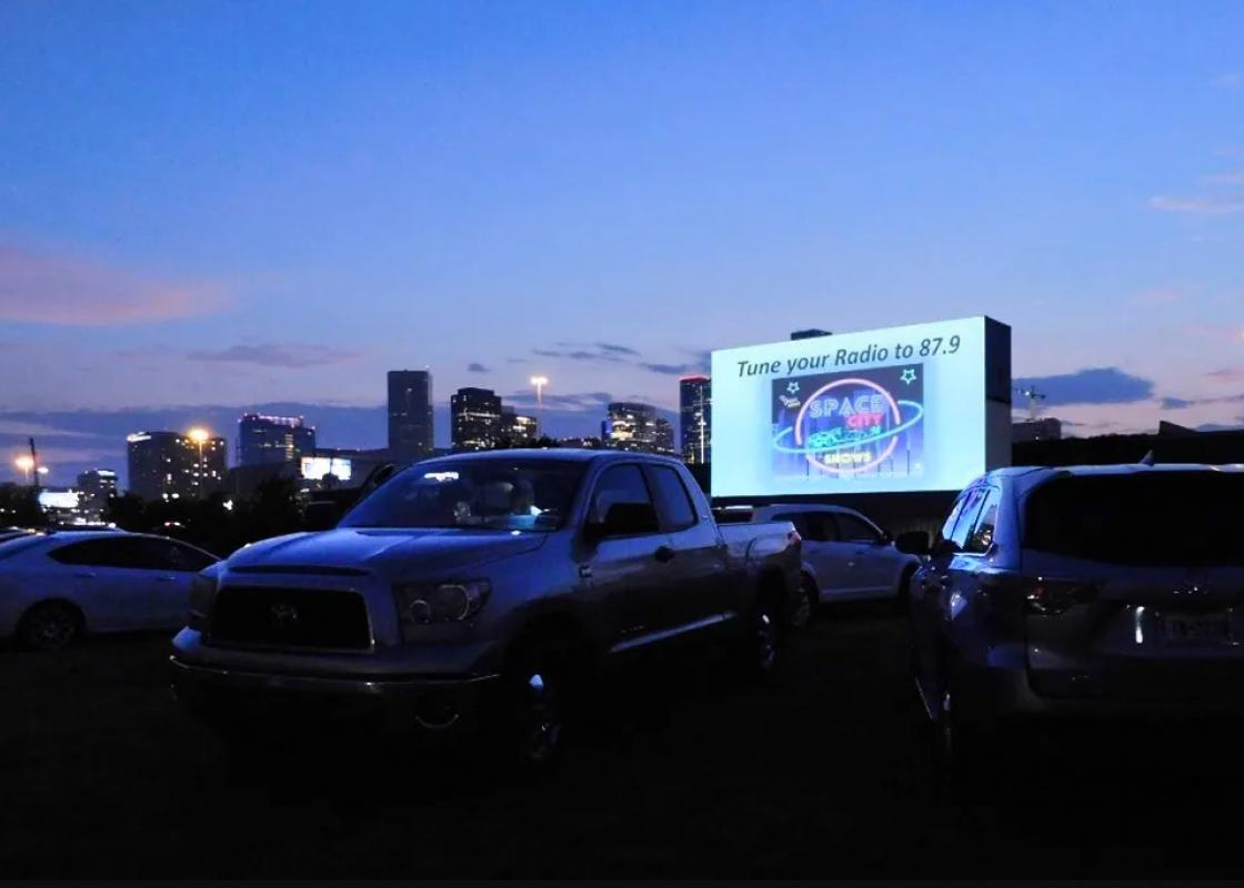 Sunset at the drive-in. Courtesy Space City Shows.