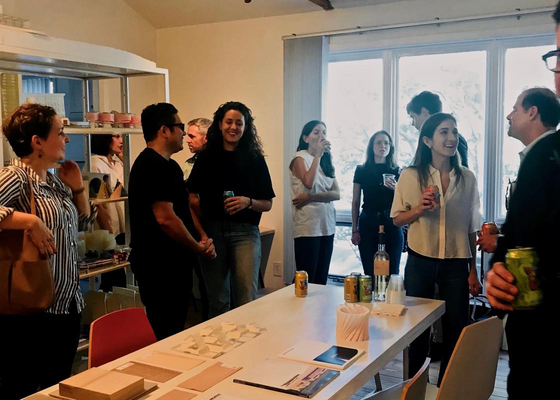 Young professionals at a studio visit