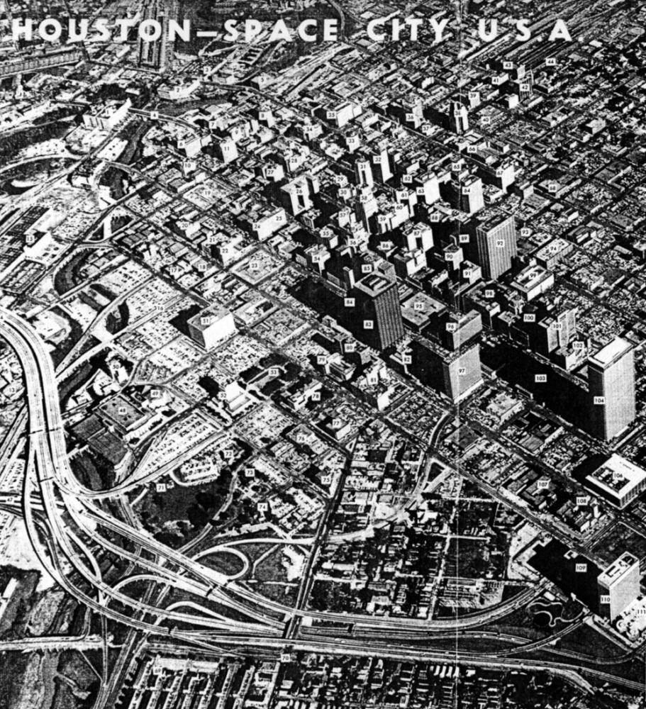 Downtown Map, Houston Chamber of Commerce, circa 1964.