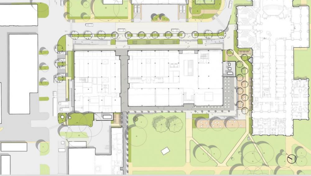 An early site plan shows how a new science and engineering building will be situated in the space currently occupied by the Abercrombie Engineering Laboratory. Courtesy of SOM. Via Rice News.