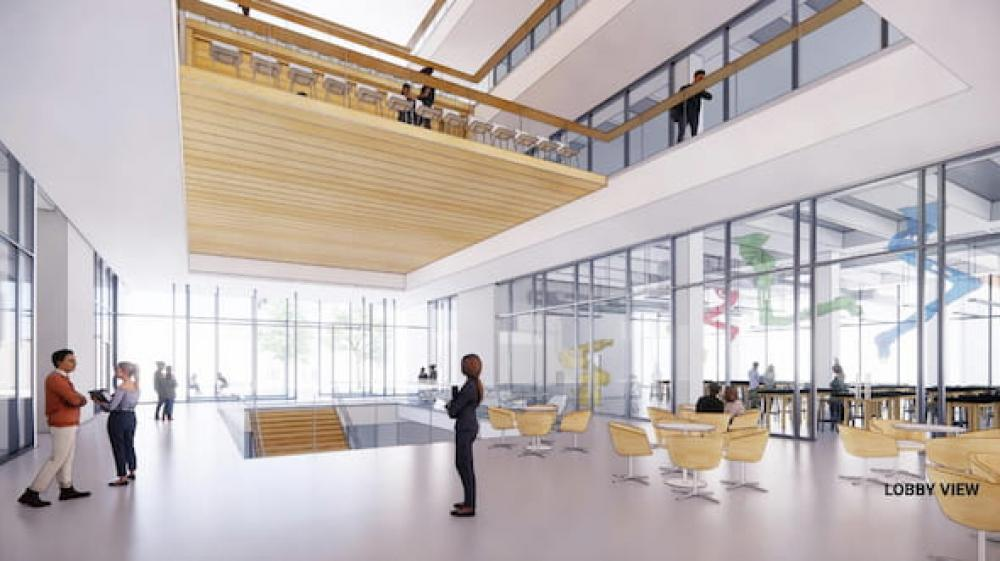 A preliminary rendering shows a concept for the lobby of the new science and engineering building on the site of the Abercrombie Engineering Laboratory, which will be demolished soon. Courtesy of SOM. Via Rice News.