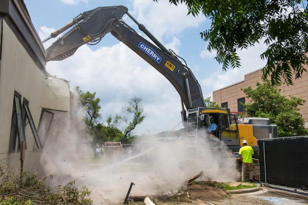 The start of demolition. Via Rice News.