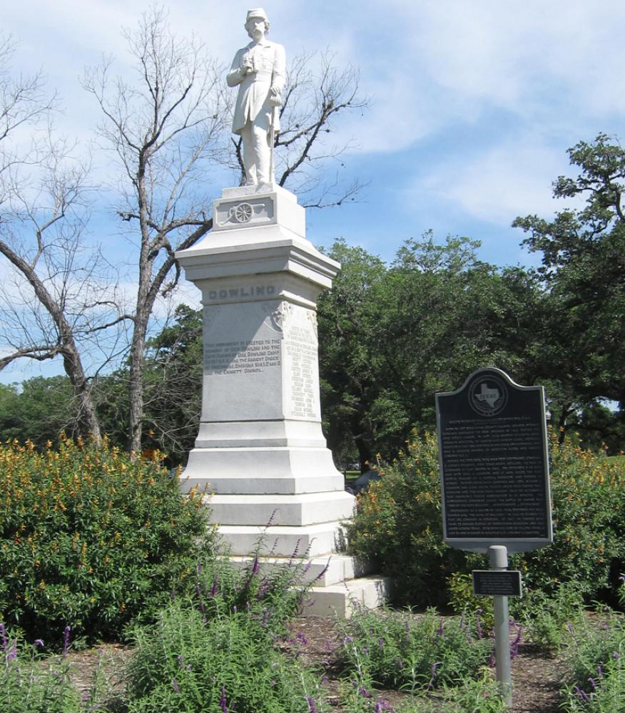 Frank Teich, Dick Dowling (1905). Marble, height 30' (including granite base), as installed in Hermann Park.