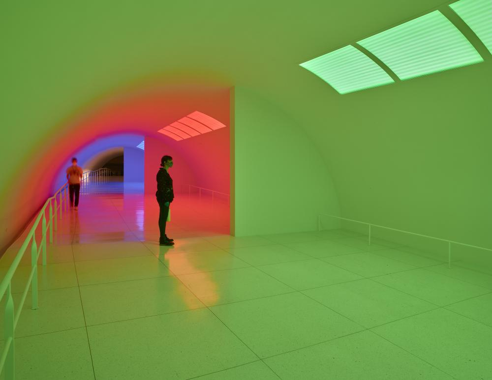 Installation view of Carlos Cruz-Diez's Cromosaturación MFAH, Paris 1965 / Houston 2017. Photo by Thomas Dubrock, courtesy of the Museum of Fine Arts, Houston.