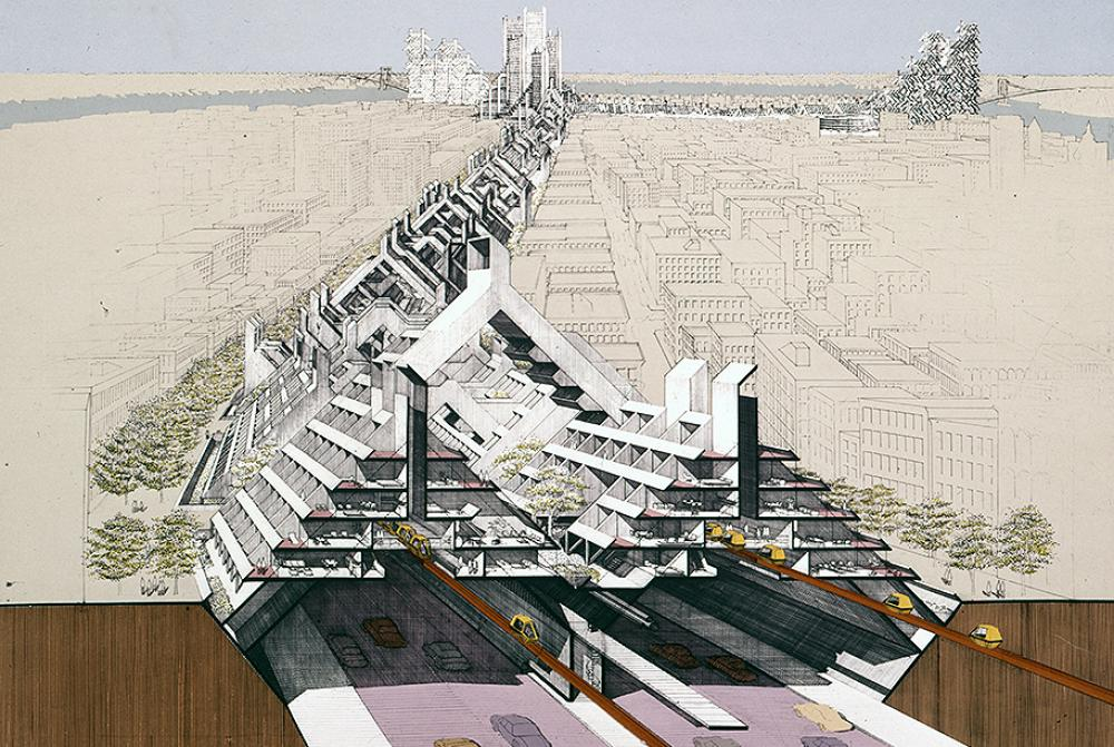 Lower Manhattan Expressway, New York City. Section Perspective, Rendering (detail). © The Estate of Paul Rudolph, The Paul Rudolph Heritage Foundation.