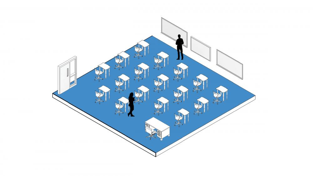 Traditional rows are spaced to keep students six feet apart. Image by DLR Group.