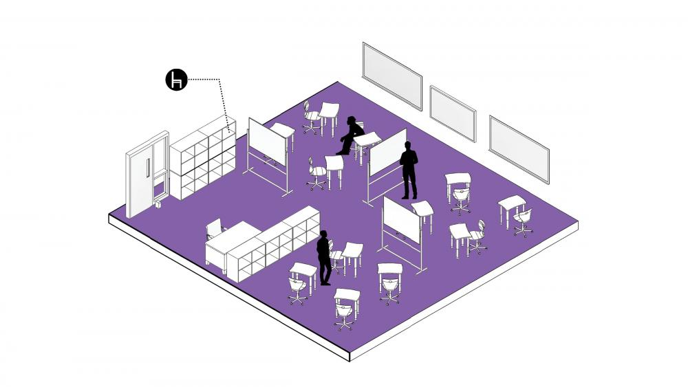 Furniture can serve as a partial room divider or as a way of keeping personal items close to doors and away from students, to further prevent the spread of germs. Image by DLR Group.