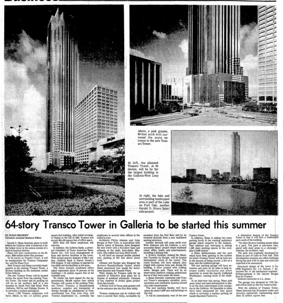 Coverage of the proposed Transco Tower in the Houston Chronicle.