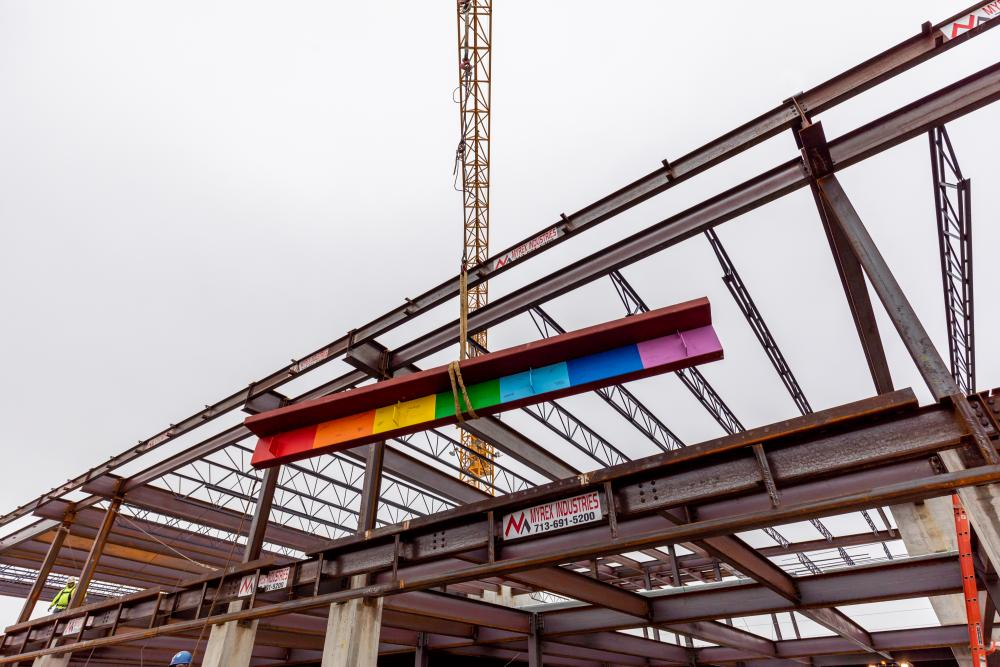 A celebratory piece of steel at Montrose Collective's topping out ceremony on October 28, 2020. Image courtesy Radom Capital.