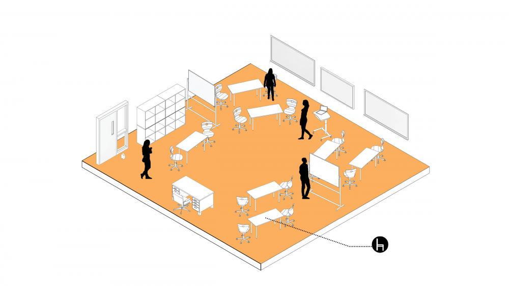 Six-foot tables can provide an opportunity for a socially distant face-to-face collaborative setting. Mobile white boards may be leveraged as additional space dividers. Image by DLR Group.