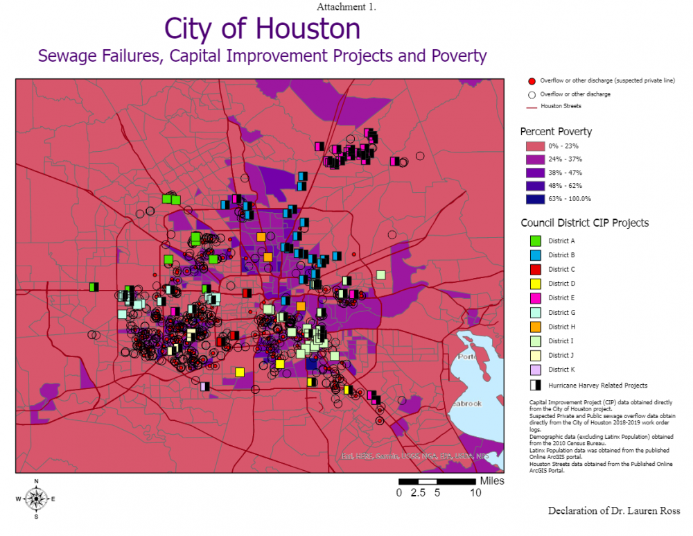 Sewage failures, capital improvement projects, and poverty. Map produced by Bayou City Waterkeeper. Courtesy Bayou City Waterkeeper.