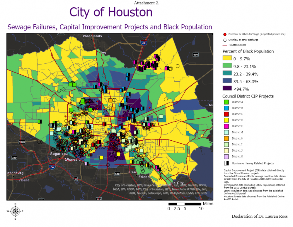 Sewage failures, capital improvement projects, and Black population. Map produced by Bayou City Waterkeeper. Courtesy Bayou City Waterkeeper.