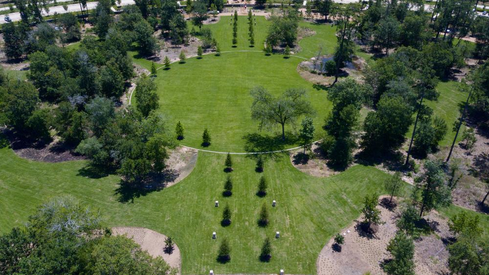 Central Lawn at original entrance of Camp Logan. Courtesy Memorial Park Conservancy.
