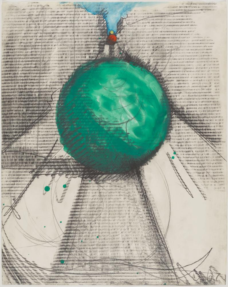 """Claes Oldenburg, """"Proposed Colossal Monument for Park Avenue, New York - Bowling Balls,"""" 1967. Graphite and watercolor on paper, 28 × 22 1/8 in. (71.1 × 56.2 cm). The Menil Collection, Houston. © Claes Oldenburg. Photo: Paul Hester. Courtesy MDI."""