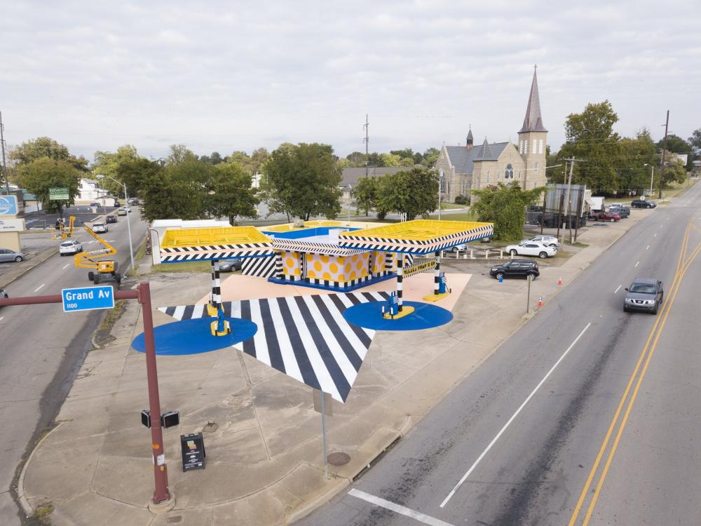 Walala Pump & Go is an art installation in Fort Smith, Arkansas, by artist Camille Walala. Realized in 2019, the project was commissioned by The Unexpected as part of a program to invigorate underutilized properties. Via Camille Walala.