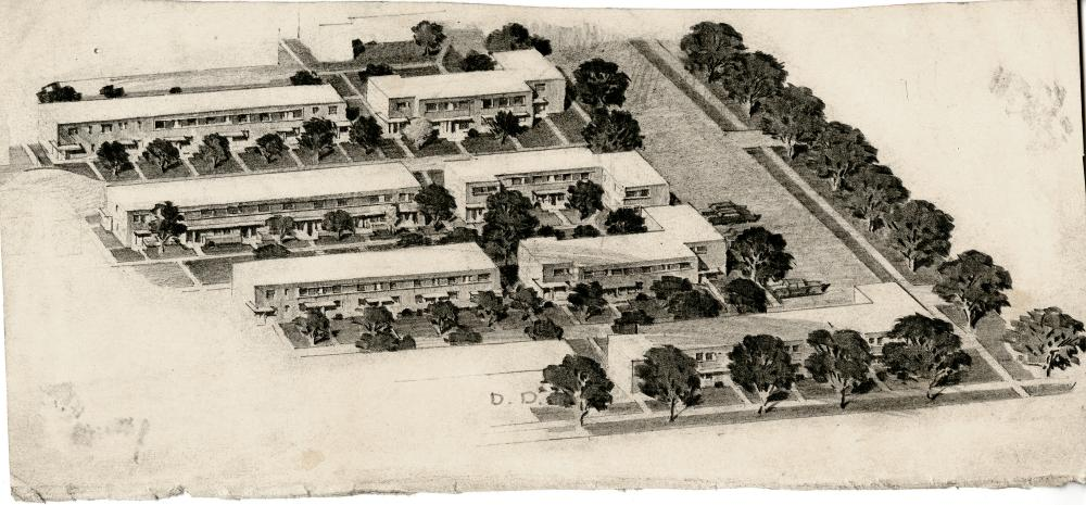 Figure 4. Aerial drawing of San Felipe Courts. Cars are allocated to the perimeter, while paths connect dwelling units. Karl Kamrath Collection, the Alexander Architectural Archive, the University of Texas Libraries, the University of Texas at Austin.