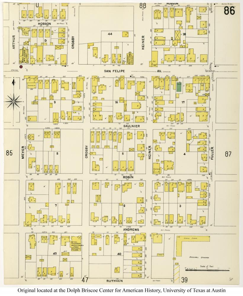 Figure 7. 1907 Sanborn Map depicting the built environment of Houston's Fourth Ward. This includes the detached, repetitive footprints of shotgun houses. The Perry- Castañeda Library Map Collection, the University of Texas Libraries.