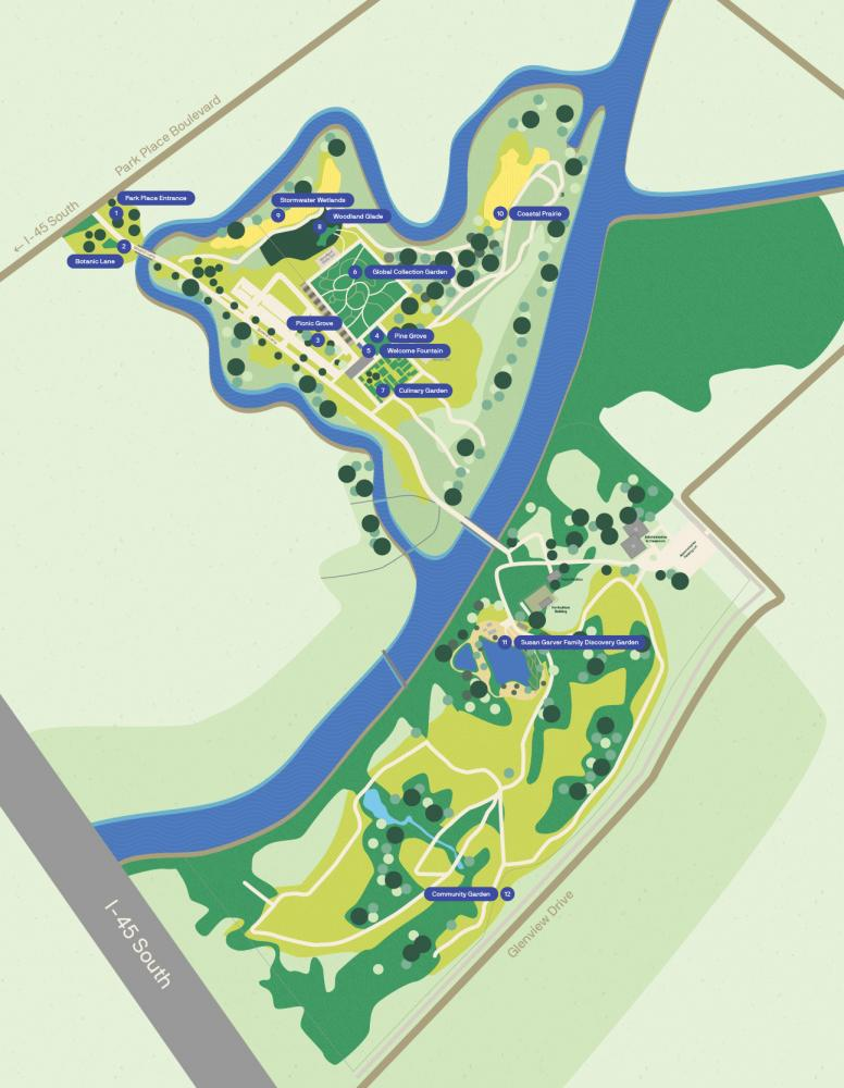 Houston Botanic Garden map. Courtesy Houston Botanic Garden.