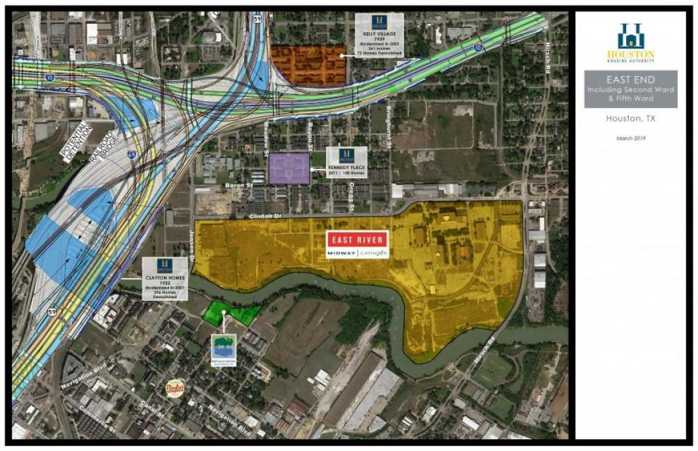 Proposed TxDOT changes to configuration of I-10, US-59/I-69. Image by Houston Housing Authority via Urban Edge.