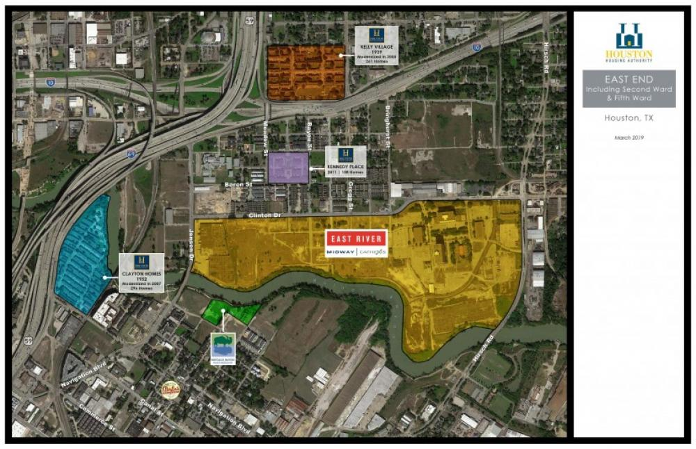 Current configuration of I-10, US-59/I-10. Image by Houston Housing Authority via Urban Edge.