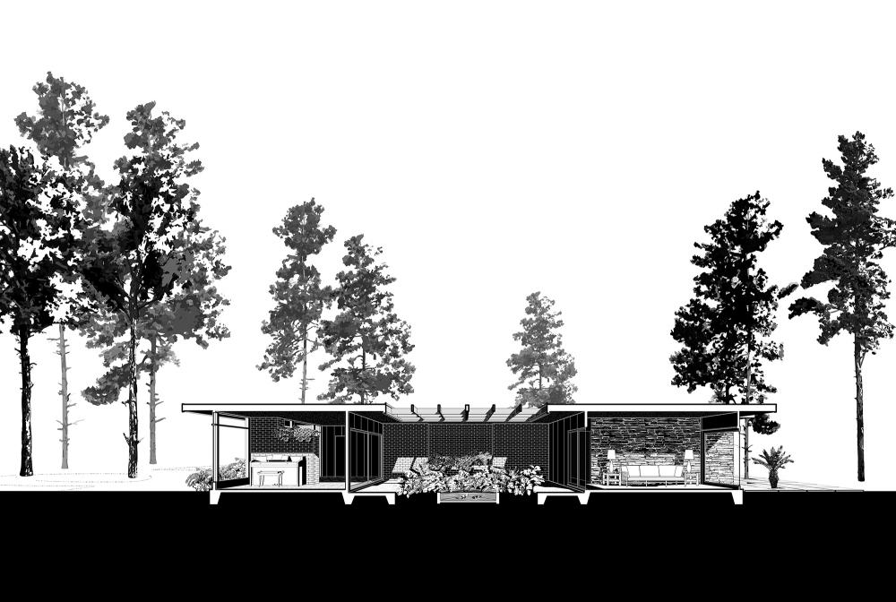 Chase Residence, North-south section through the Courtyard, 1959. Drawings by Brooke Burnside, David Heymann, Sarah Spielman, and Wei Zhou.