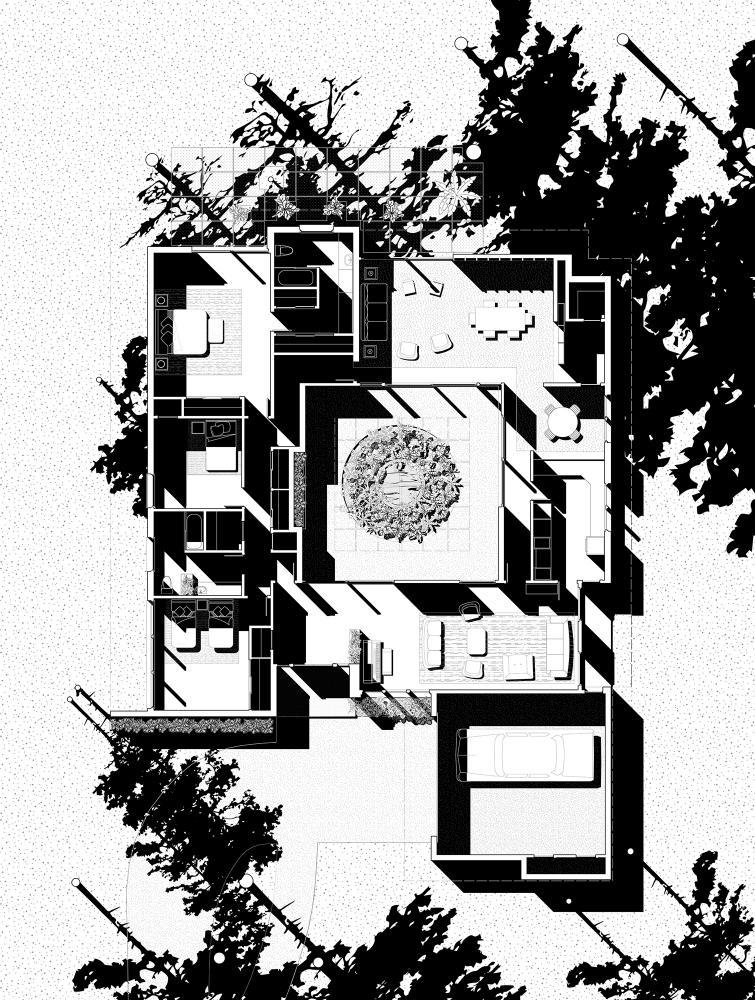 Chase Residence, Plan, 1959. Drawings by Brooke Burnside, David Heymann, Sarah Spielman, and Wei Zhou.