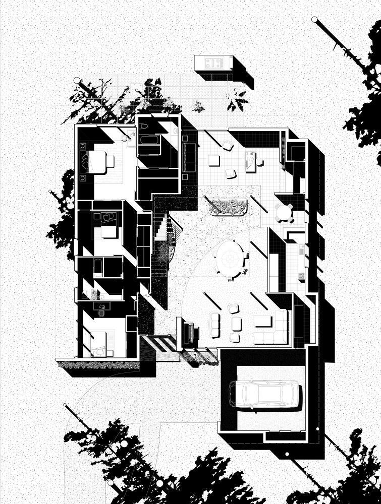 Chase Residence after 1968, Ground Floor Plan. Drawings by Brooke Burnside, David Heymann, Sarah Spielman, and Wei Zhou.