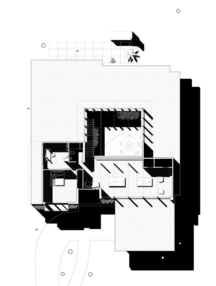 Chase Residence after 1968, Second Floor Plan. Drawings by Brooke Burnside, David Heymann, Sarah Spielman, and Wei Zhou.