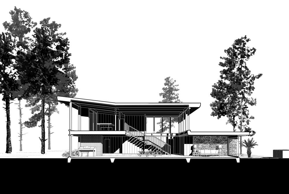 Chase Residence after 1968, North-south section through Great Room. Drawings by Brooke Burnside, David Heymann, Sarah Spielman, and Wei Zhou.
