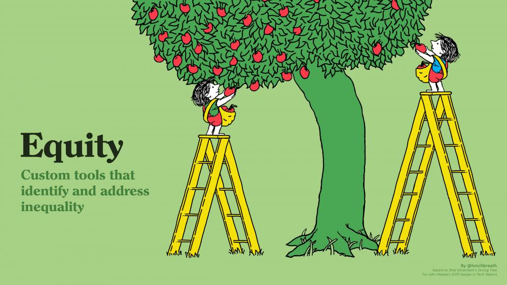 Tony Ruth's illustration inspired by Shell Silverstein's The Giving Tree clearly communicates why justice, not just equity, is necessary.