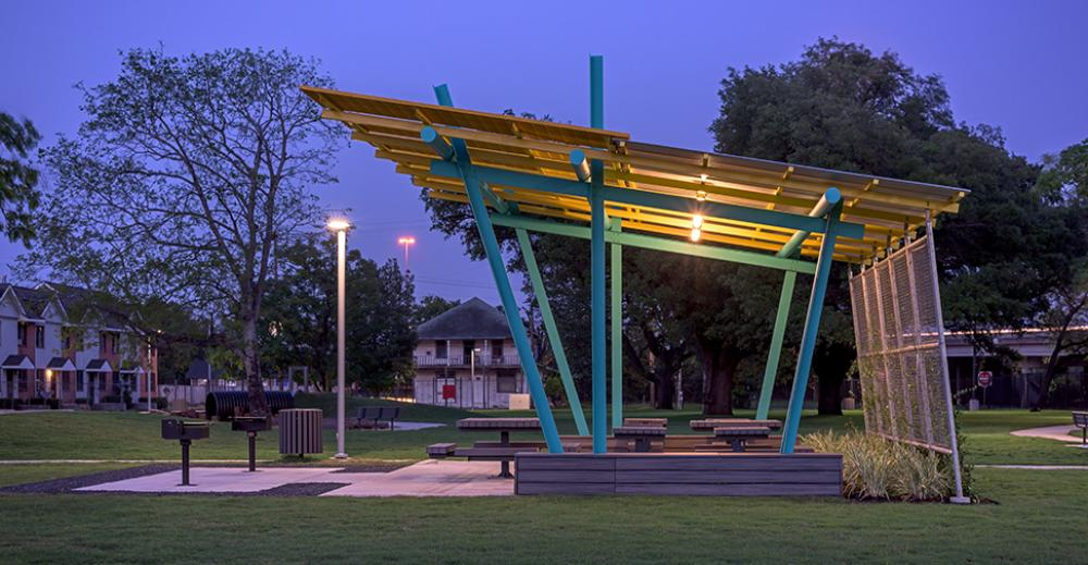 Kelly Village Community Park, by Brave Architecture in collaboration with Val Glitsch, FAIA. Image by Peter Molick.