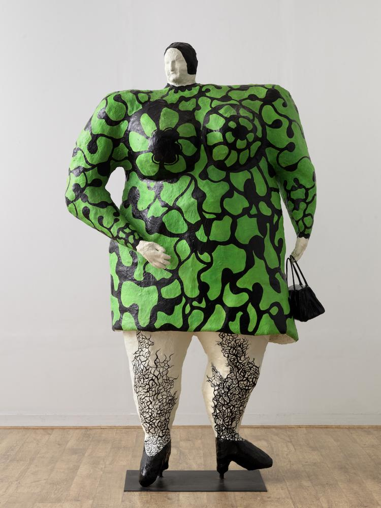 Niki de Saint Phalle, Madame, or Green Nana with Black Bag, 1968. Painted polyester, 101 9/16 × 60 5/8 × 25 9/16 in. Private collection, Courtesy of Galerie Georges-Philippe & Nathalie Vallois, Paris. © Niki Charitable Art Foundation. Photo: André Morain.