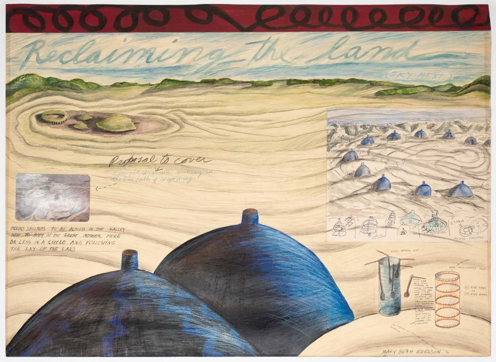"""Reclaiming the Land,"""" 1976. Mixed media on board, 26 1/2 × 36 in. (67.3 × 91.4 cm). Courtesy of David Lewis, New York. © Mary Beth Edelson. Photo: Ben Heyer. Courtesy Menil Drawing Institute."""