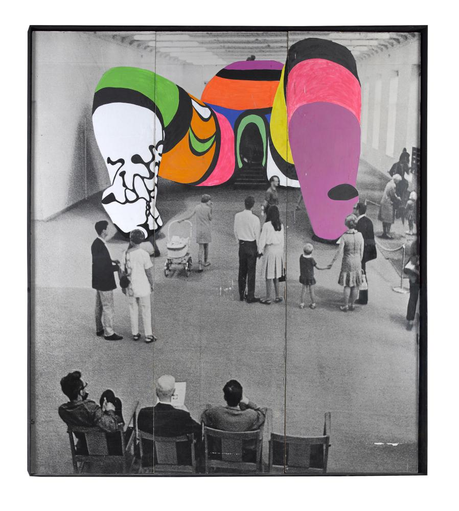 "Niki de Saint Phalle, ""Overpainted Photo of Hon,"" 1979. Paint on gelatin silver print, 118 1/8 × 115 3/8 in. Collection Niki Charitable Art Foundation, Santee. © Niki Charitable Art Foundation. All rights reserved. Photo: Katrin Baumann."