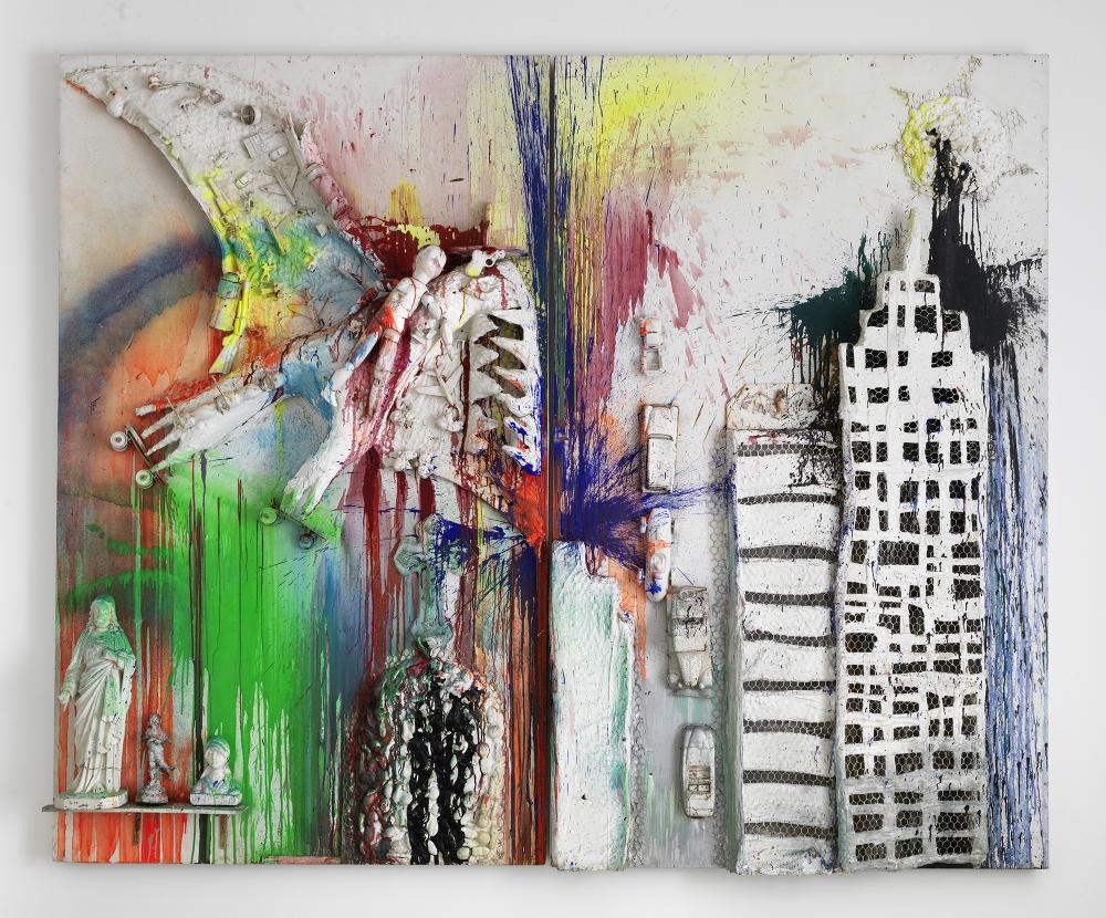 """Niki de Saint Phalle, """"Pirodactyl over New York,"""" 1962. Paint, plaster, and objects on two wood panels, 98 3/8 × 122 × 11 3/4 in. Guggenheim Abu Dhabi. © Niki Charitable Art Foundation. All rights reserved."""