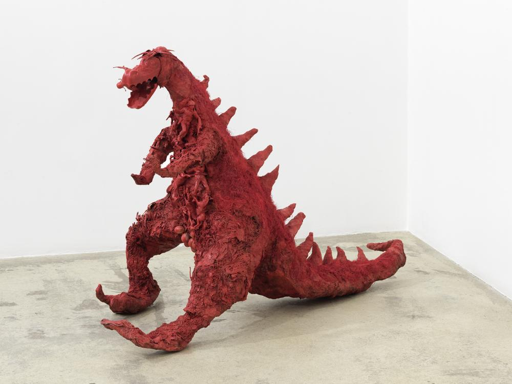 """Niki de Saint Phalle, """"Red Dragon,"""" 1964. Assemblage, 34 1/4 × 51 15/16 × 22 13/16 in. Private collection, Courtesy Georges-Philippe & Nathalie Vallois Gallery, Paris. © Niki Charitable Art Foundation. All rights reserved."""