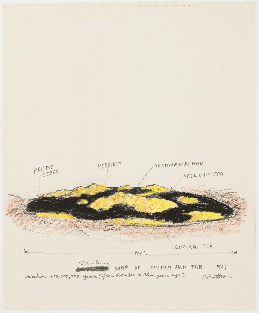 """Robert Smithson, """"Cambrian Map of Sulfur and Tar,"""" 1969. Crayon and marking pen on paper, 17 × 14 in. The Menil Collection, Houston, Gift of the artist. © Holt / Smithson Foundation / VAGA at Artists Rights Society, NY. Photo: Paul Hester. Courtesy MDI."""
