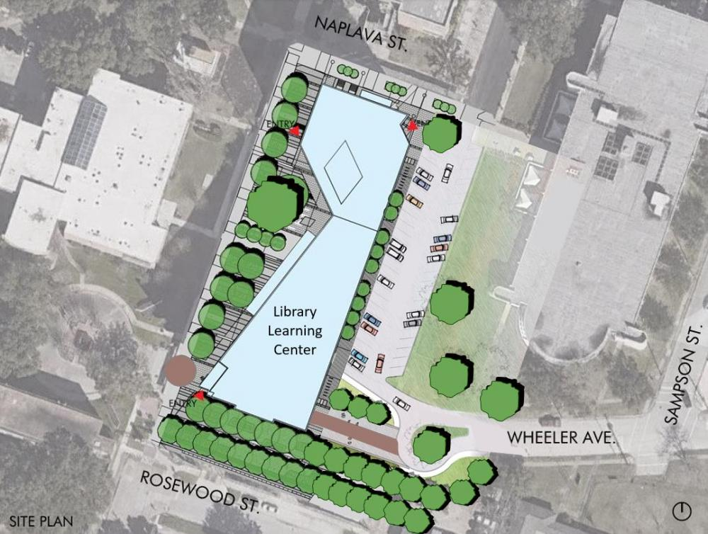 Site plan of the Library Learning Center at Texas Southern University, designed by Moody Nolan. Courtesy Moody Nolan.