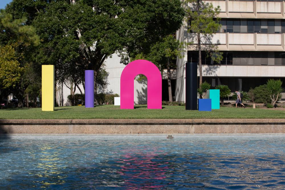 "TYPOE (b. 1983). ""Forms from Life"", 2017. Painted aluminum. Dimensions vary. Photo courtesy University of Houston."