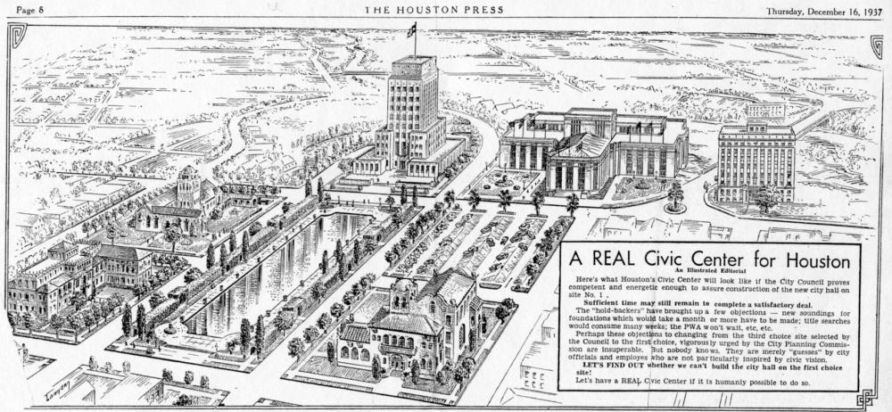 Houston Civic Center plan, 1937.