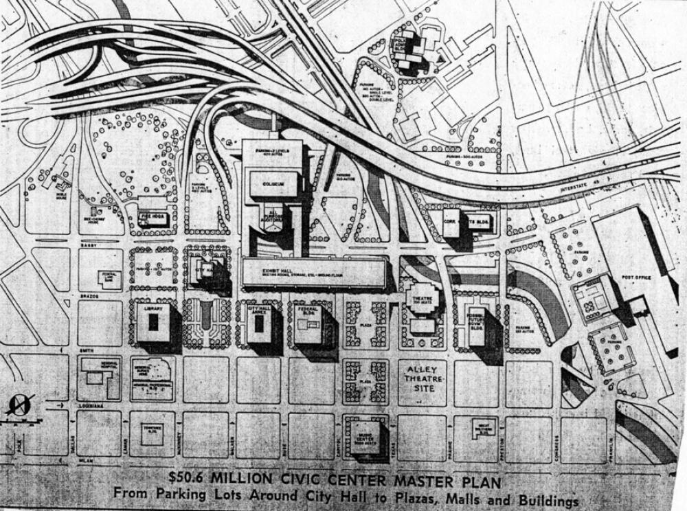 Houston Civic Center plan, 1962.